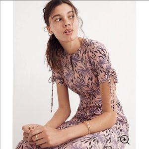 Madewell Silk Tie-Sleeve Maxi Dress in Oasis Palms